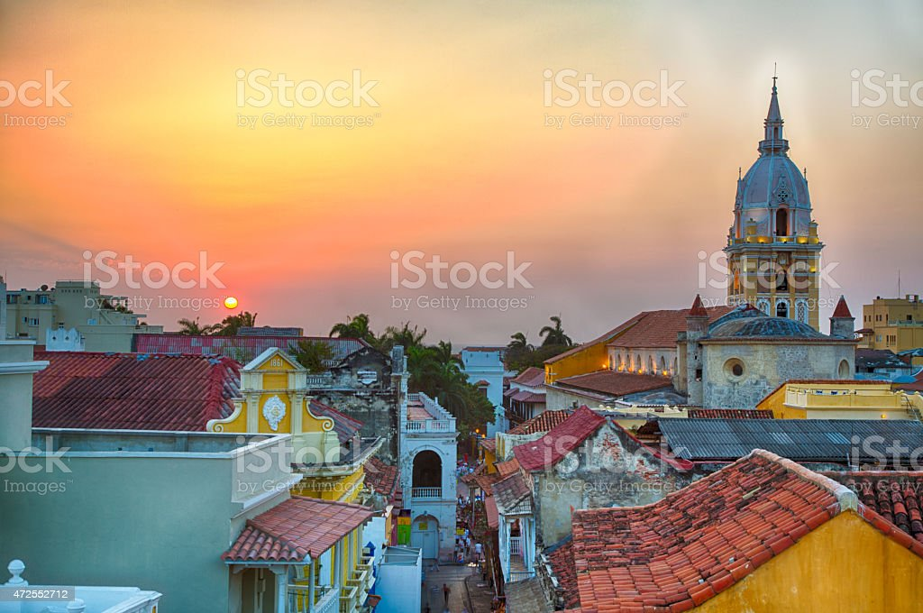 Sunset over Cartagena stock photo