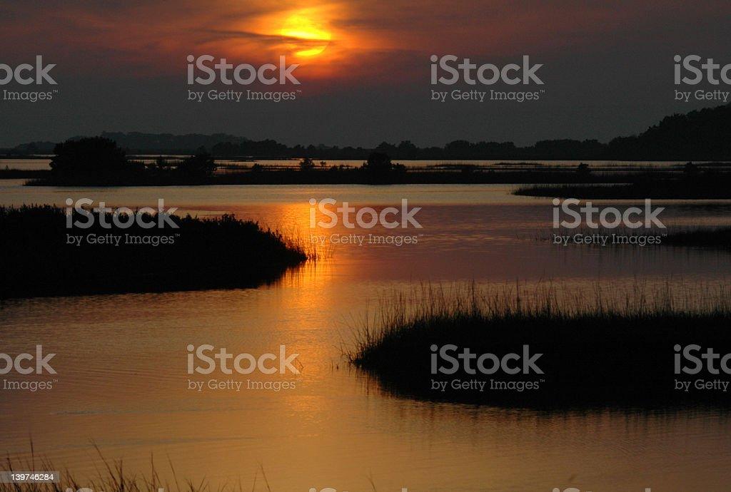 Sunset over Cedar Key royalty-free stock photo
