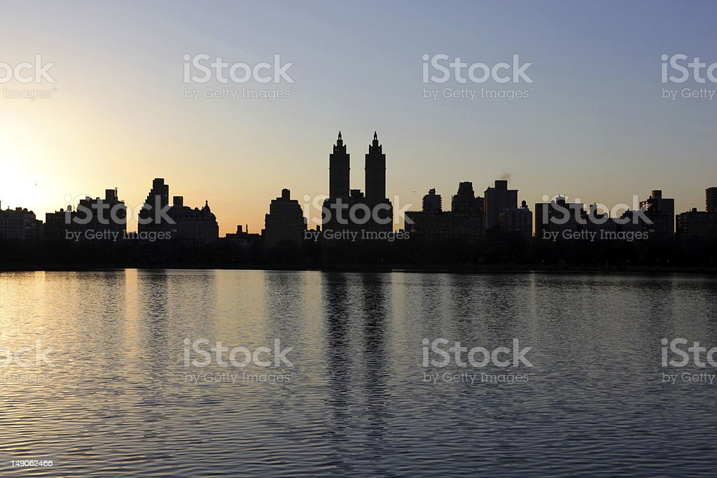 Sunset over Central Park West stock photo