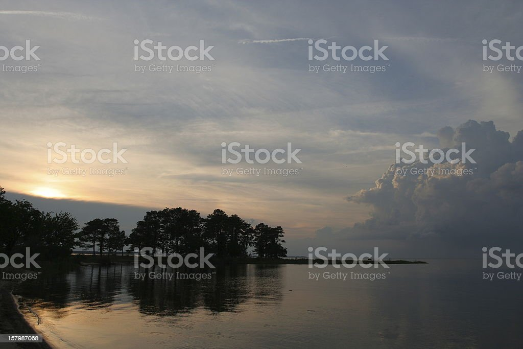 Sunset over Chesapeake Bay stock photo