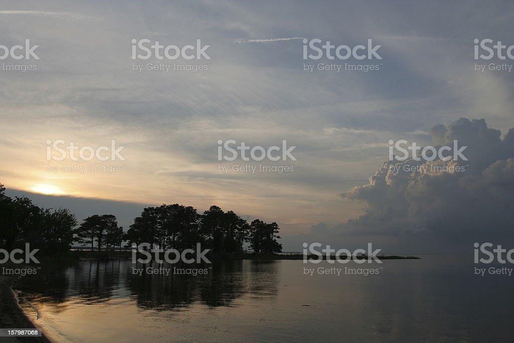 Sunset over Chesapeake Bay stock photo