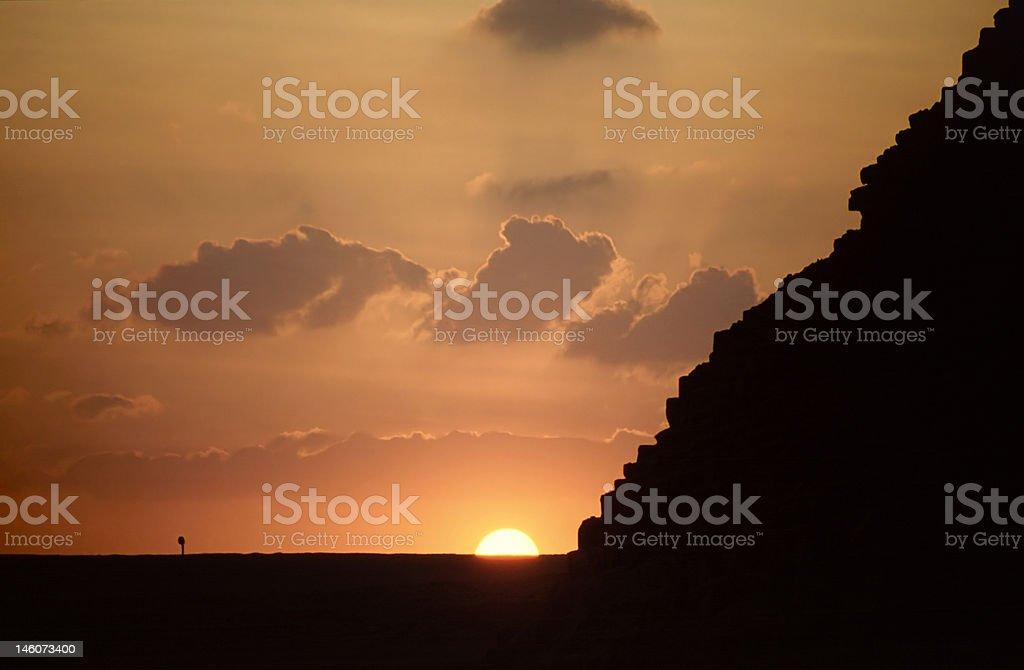 Sunset over Chufu's pyramid stock photo