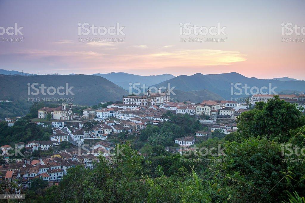 Sunset over city of Ouro Preto - Minas Gerais, Brazil stock photo