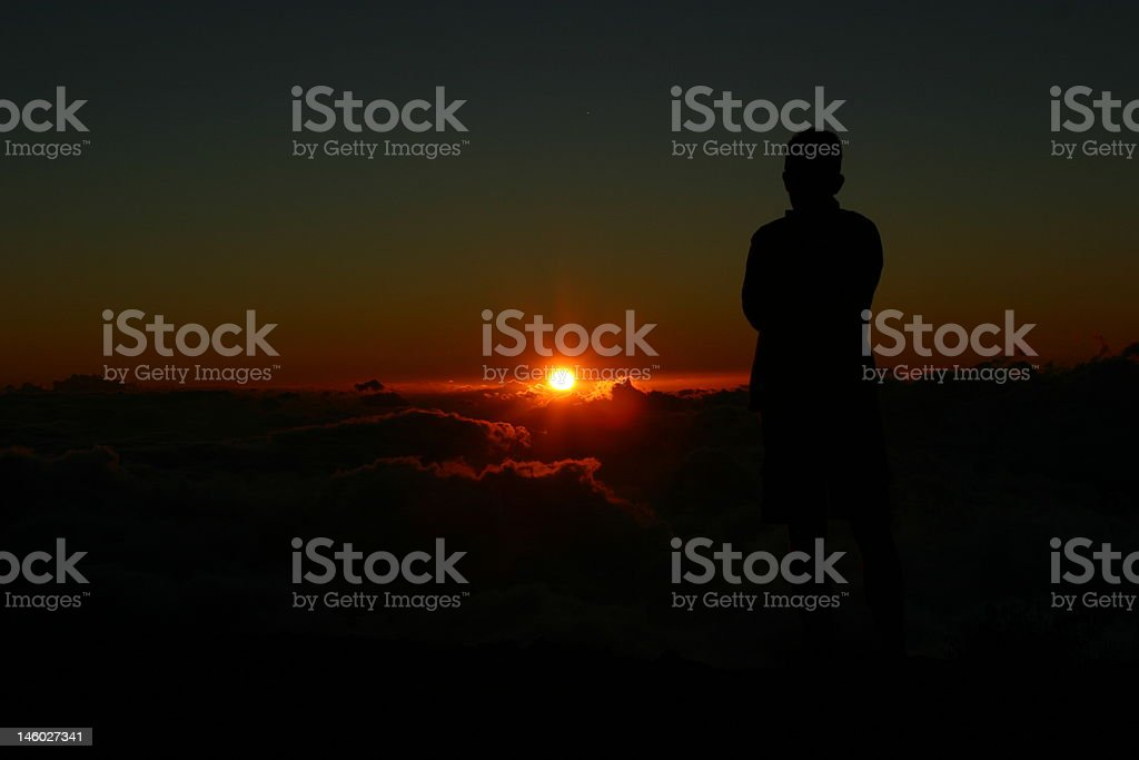 Sunset over cloud sea royalty-free stock photo