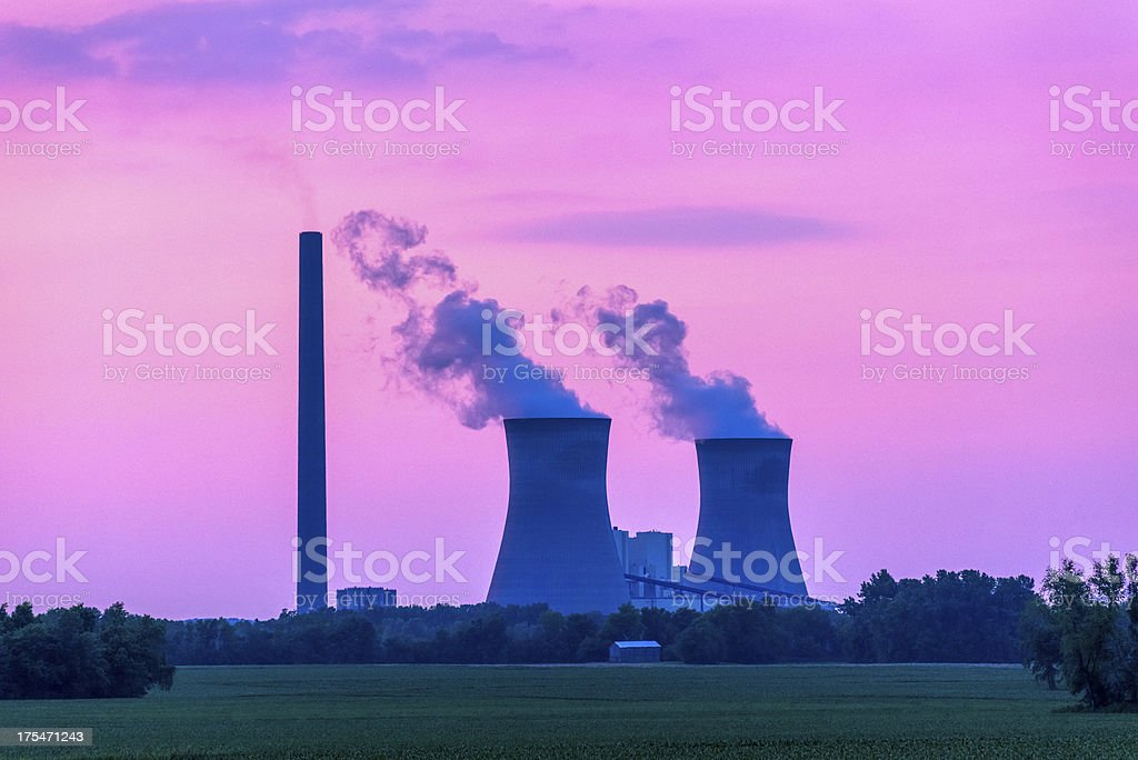 sunset over coal fired powerplant, Rockville Indiana royalty-free stock photo