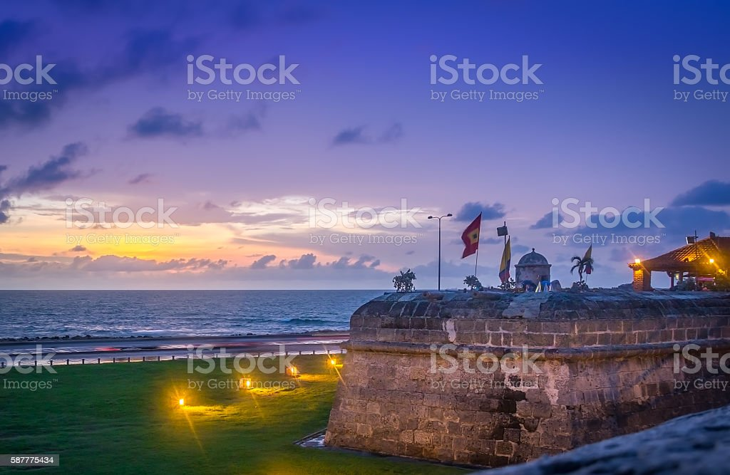Sunset over Defensive Wall - Cartagena de Indias, Colombia stock photo