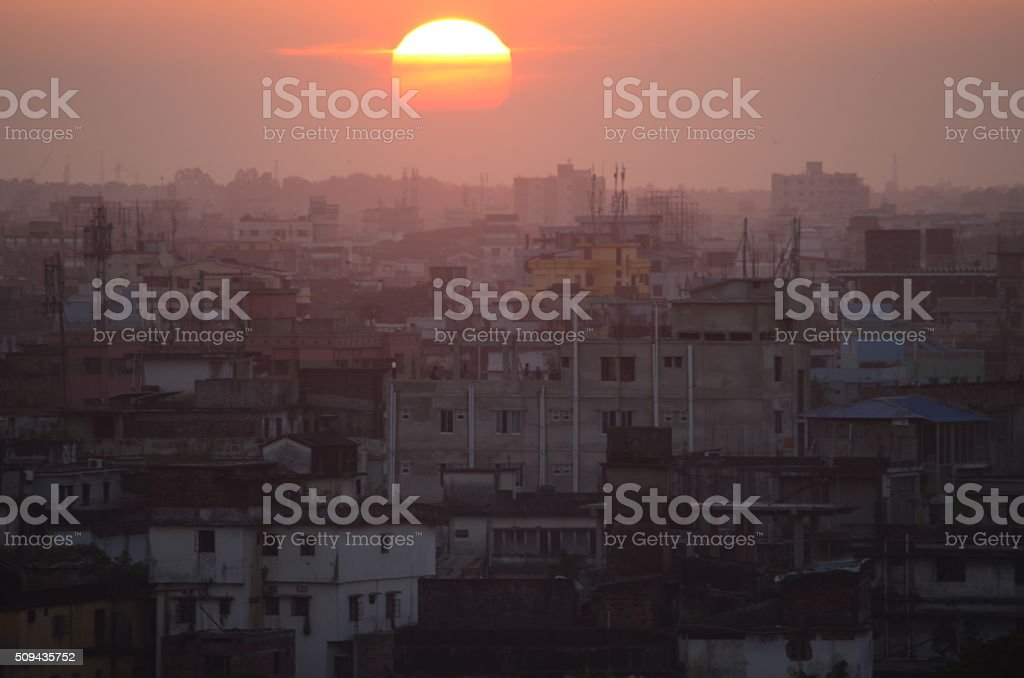 Sunset over Dhaka, Bangladesh stock photo
