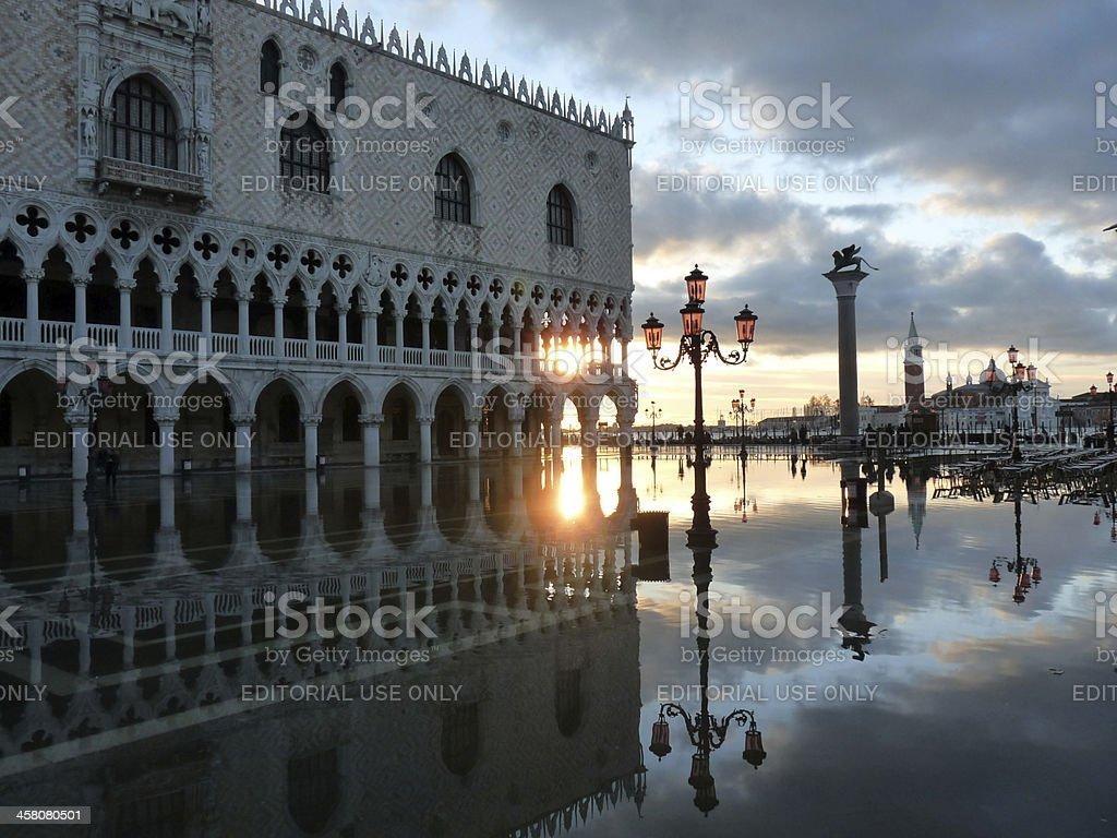 Venice, Italy - November 19, 2010:  Sunset over Doges Palace royalty-free stock photo