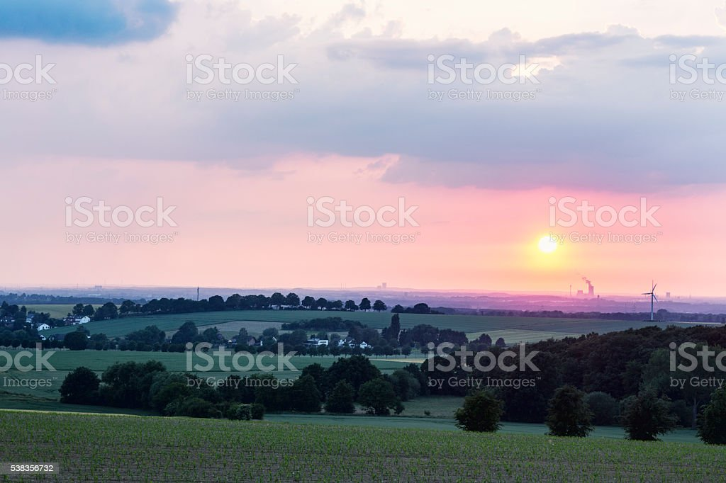 sunset over Dortmund stock photo
