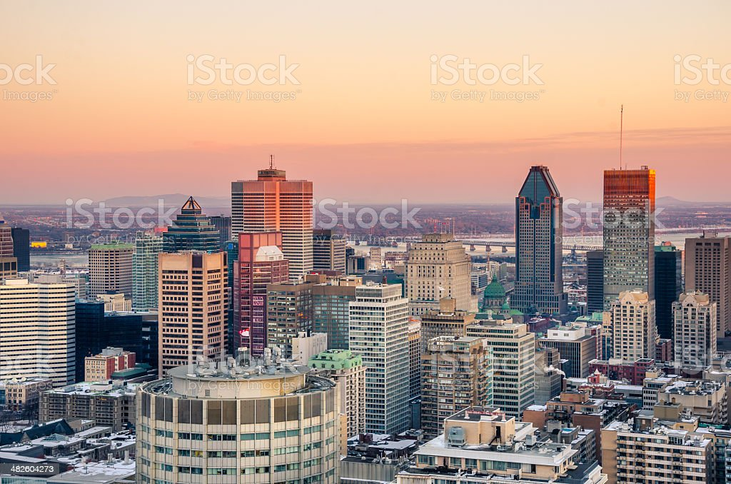 Sunset over Downtown Montreal in Winter stock photo