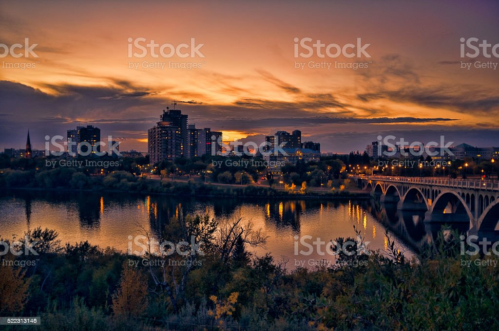 Sunset over Downtown Saskatoon Skyline stock photo