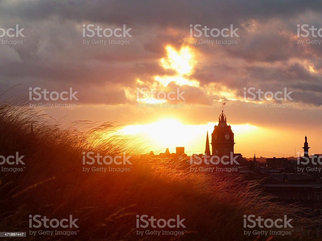 Sunset over Edinburgh stock photo