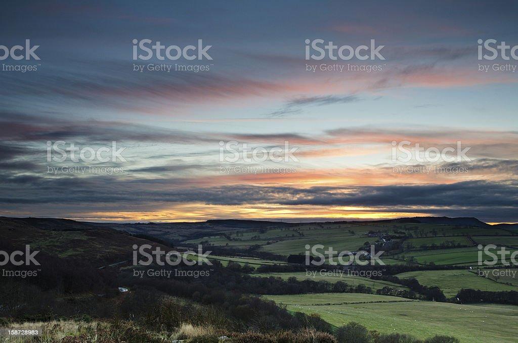 Sunset over Edlingham stock photo