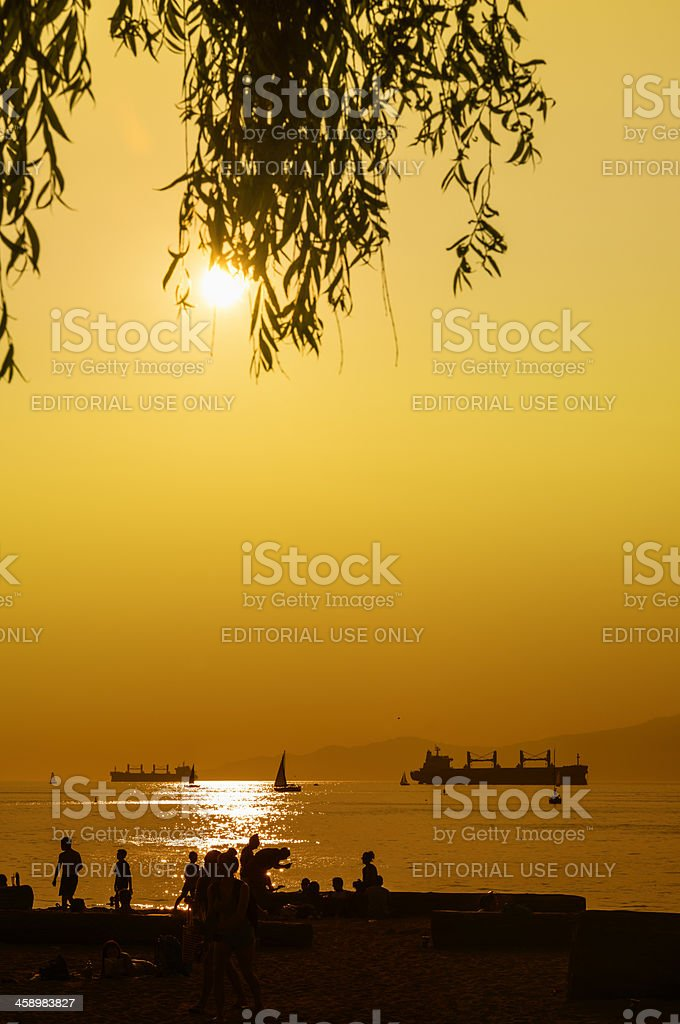 Sunset Over English Bay, Vancouver stock photo