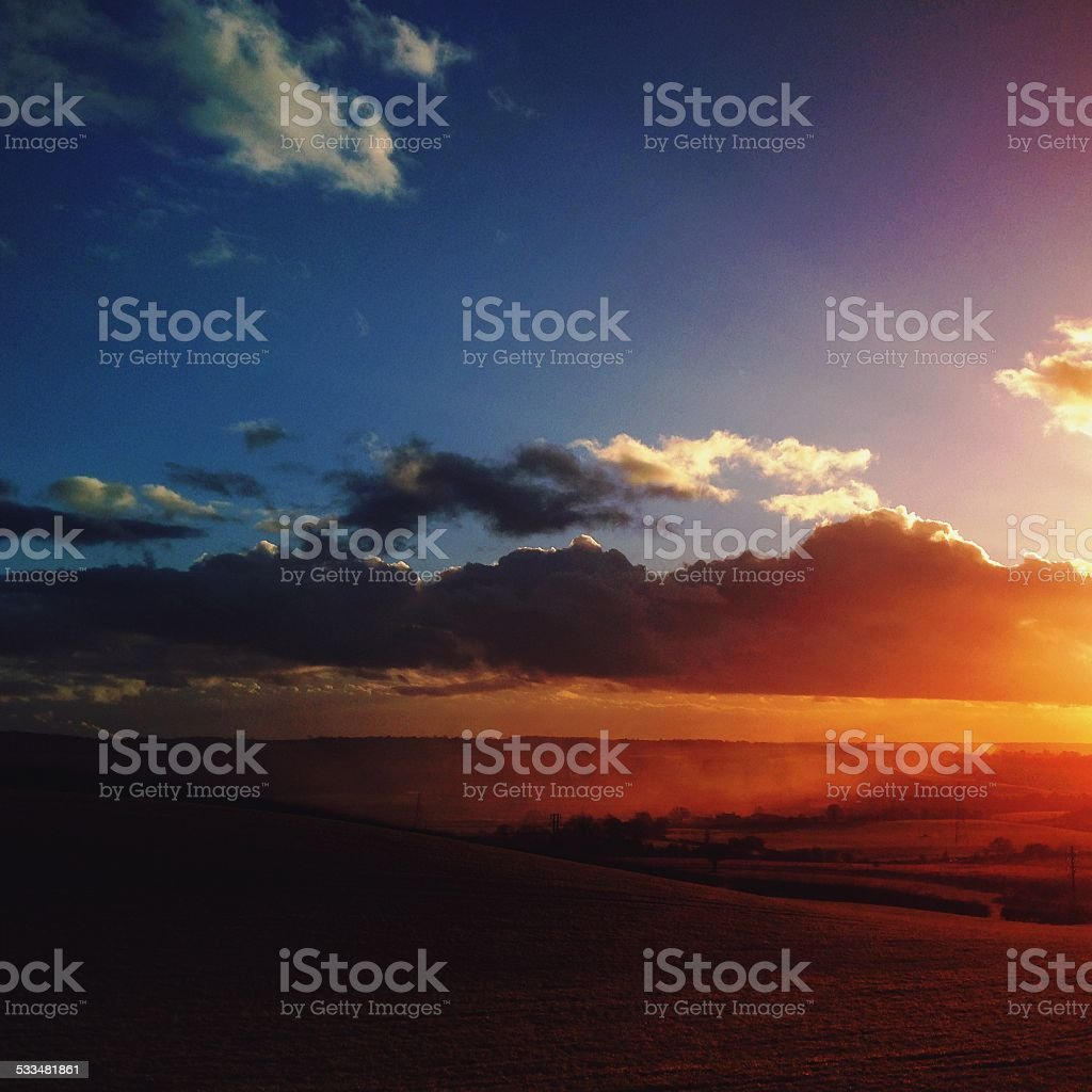 Sunset over English farmland stock photo