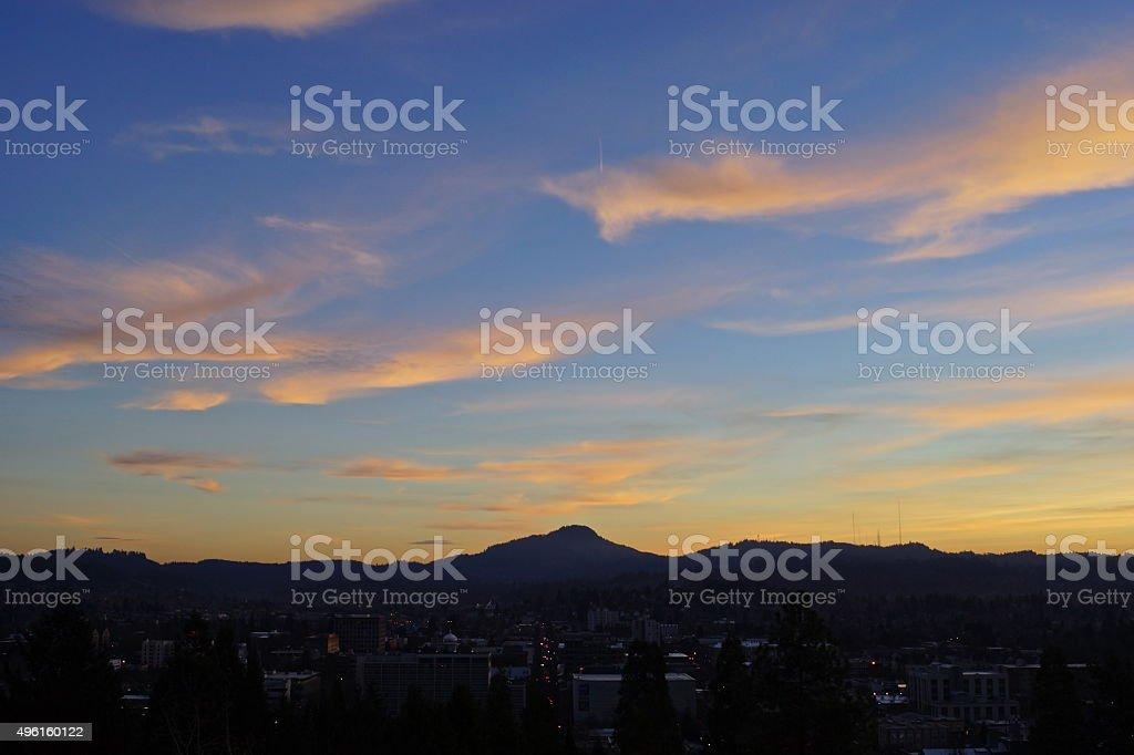 Sunset Over Eugene stock photo