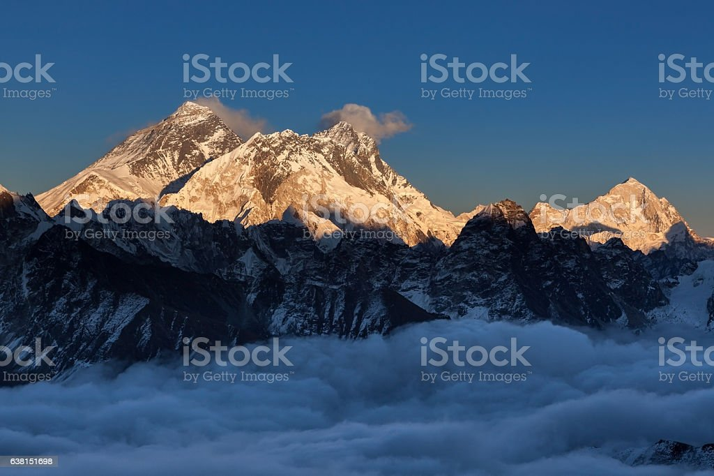 Sunset over Everest summit, view from Renjo La pass. stock photo
