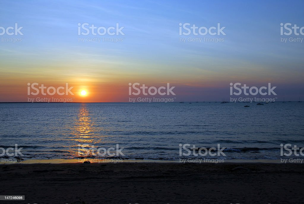 Sunset over Fanny Bay royalty-free stock photo