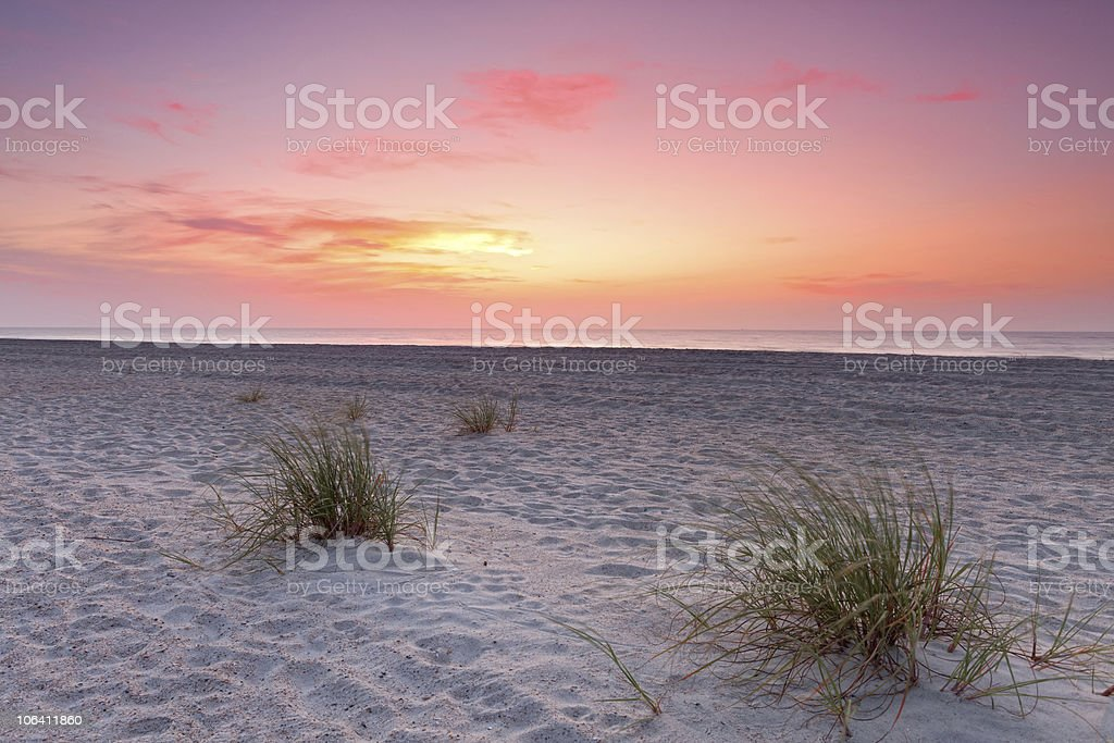 Sunset over Florida coastline stock photo