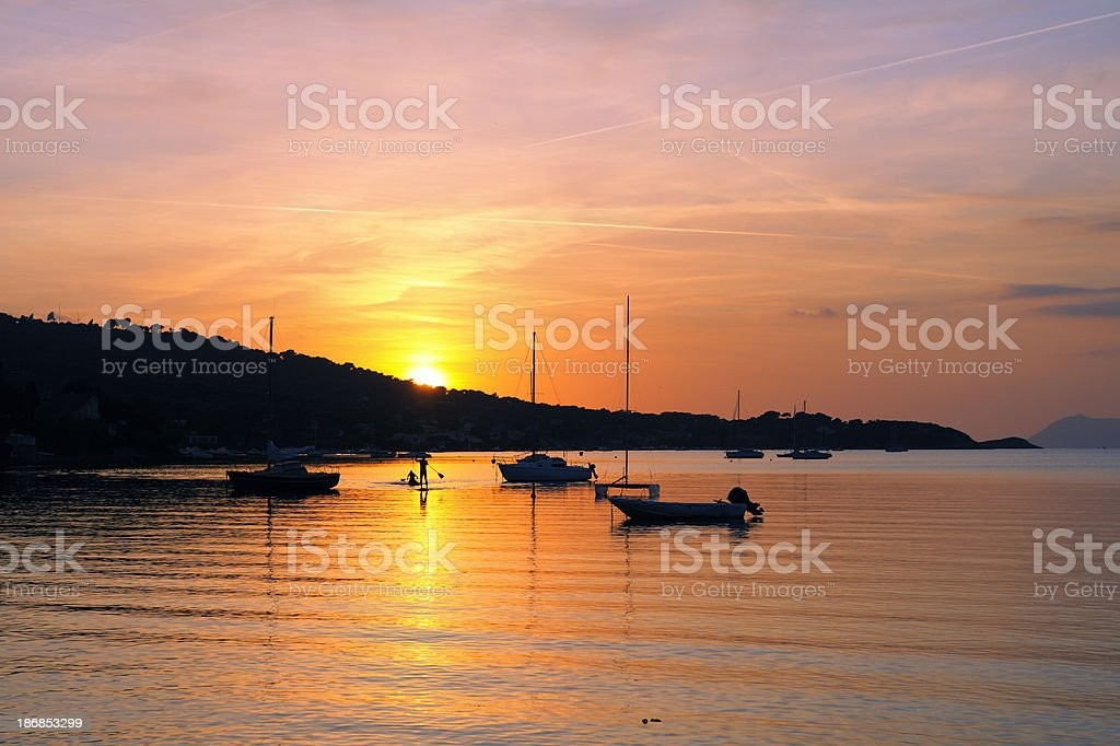 Sunset over French Riviera royalty-free stock photo