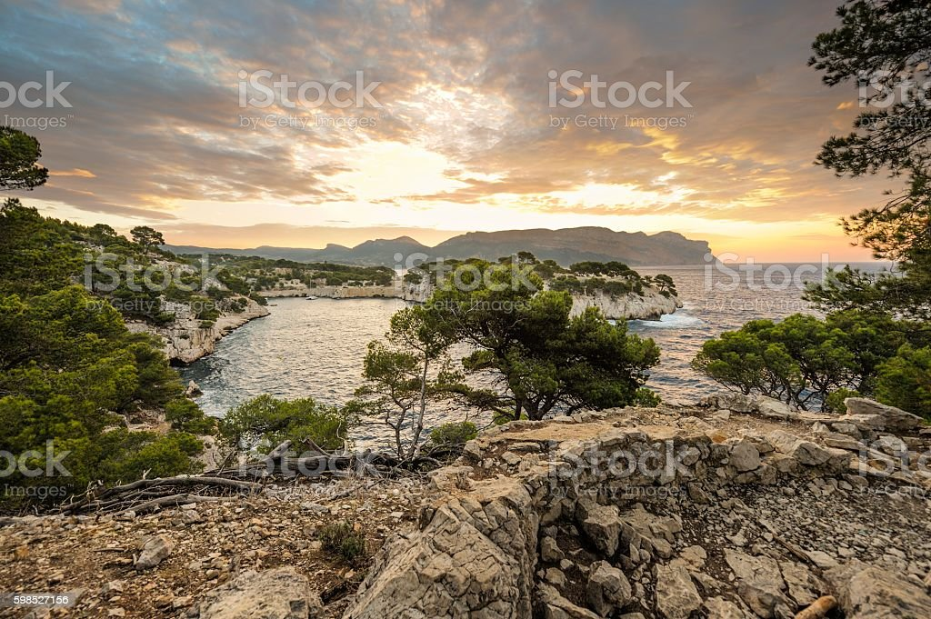 Sunset over French Riviera stock photo