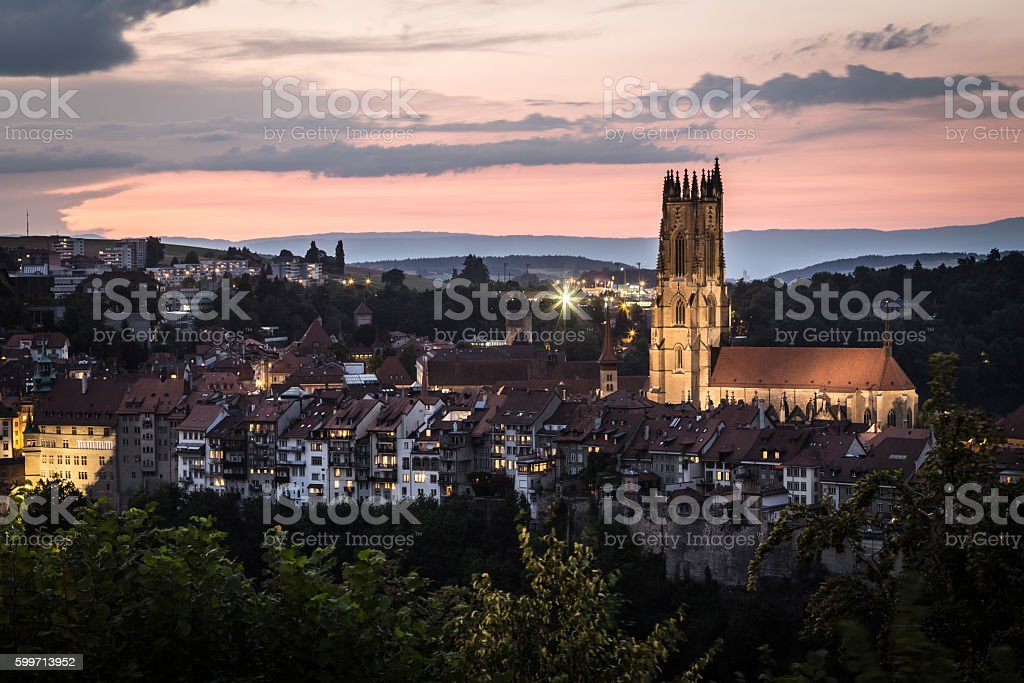 Sunset over Fribourg old town stock photo