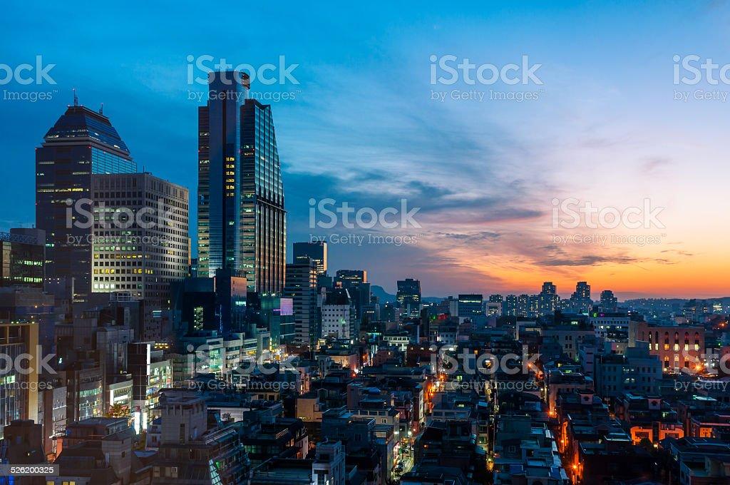 Sunset over Gangnam stock photo