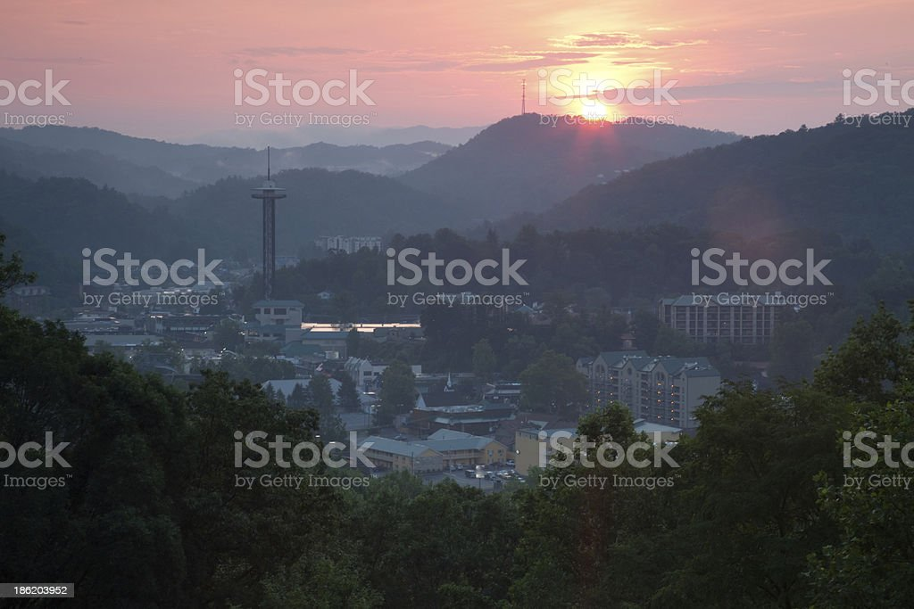 Sunset over Gattlinburg, TN, from Smoky Mountains royalty-free stock photo