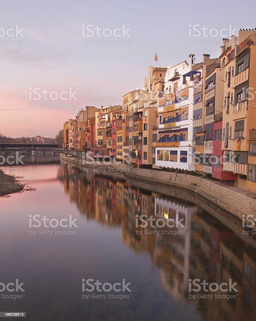 Sunset over Girona royalty-free stock photo