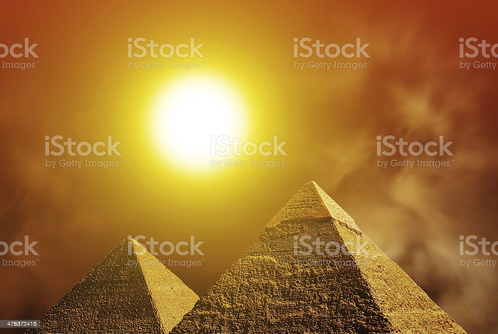 Sunset over Giza pyramids. Egypt stock photo