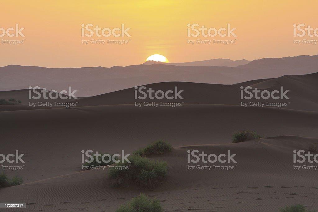 Sunset over Gobi desert royalty-free stock photo