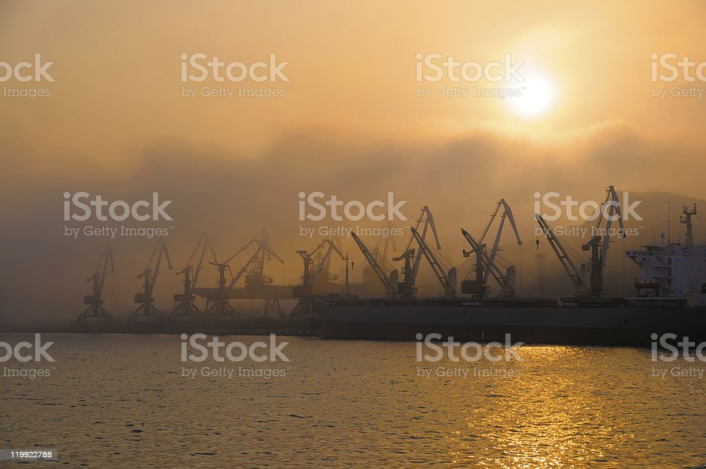Sunset over Golden Horn harbor; Vladivostok, Russia stock photo