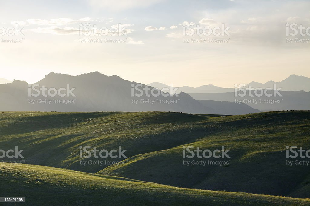 Sunset Over Green Hills stock photo