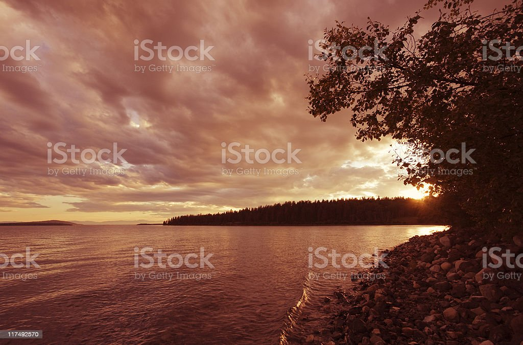 Sunset over Green Lake royalty-free stock photo
