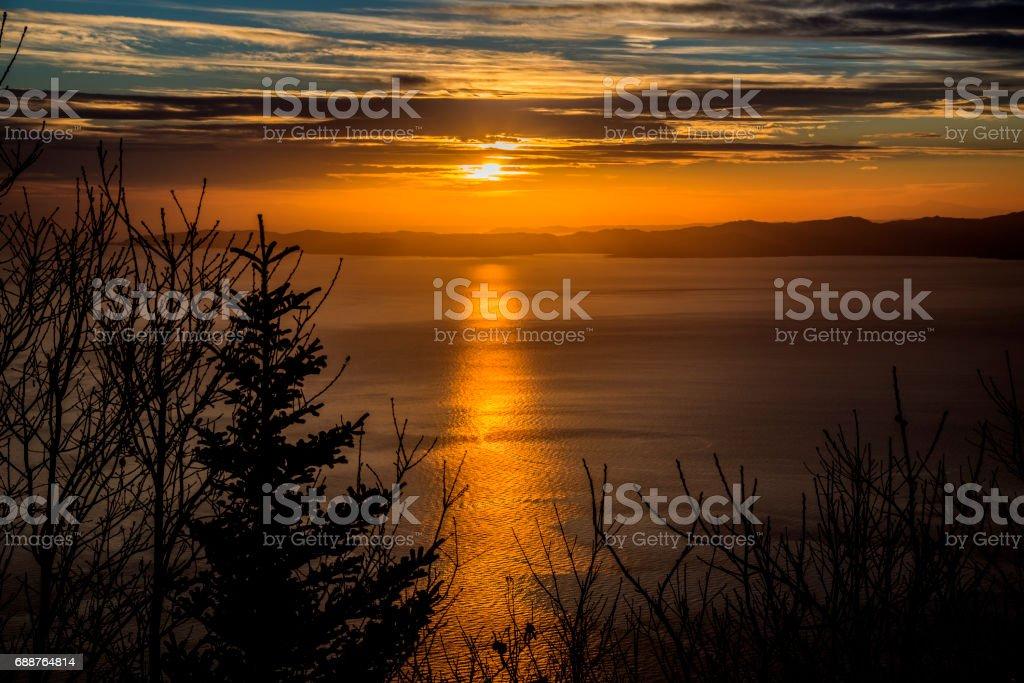 Sunset over Halkidiki stock photo