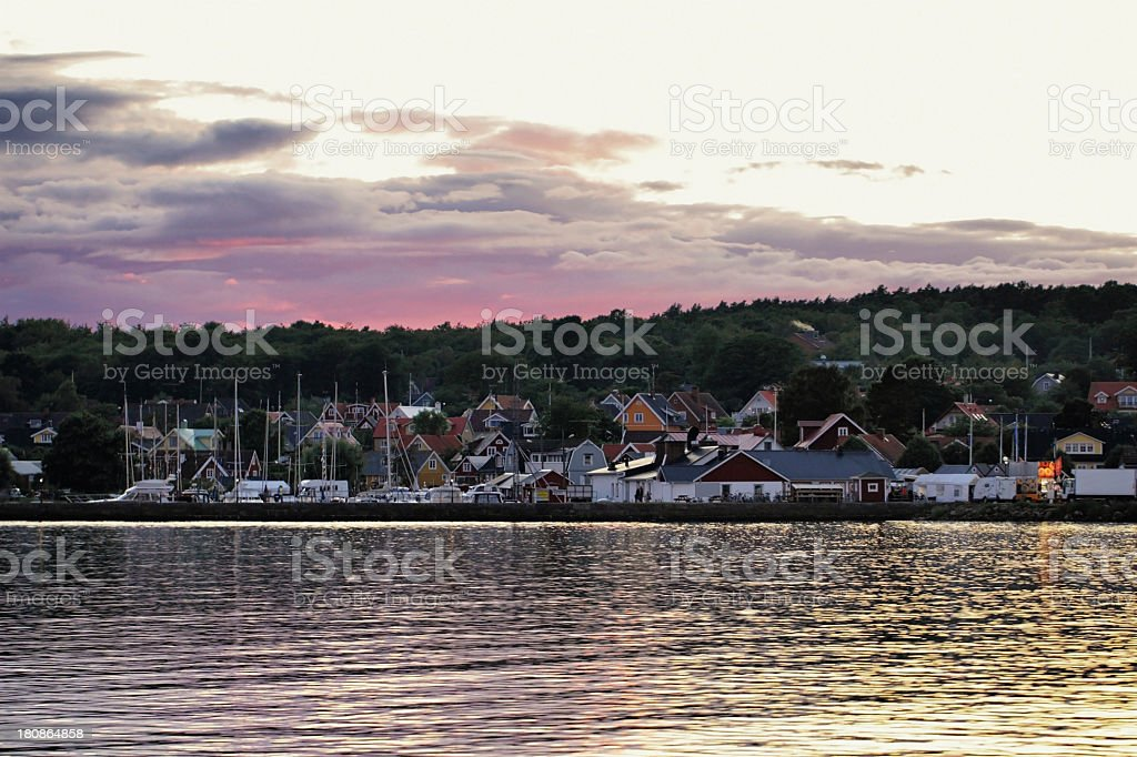 Sunset over Hallevik stock photo