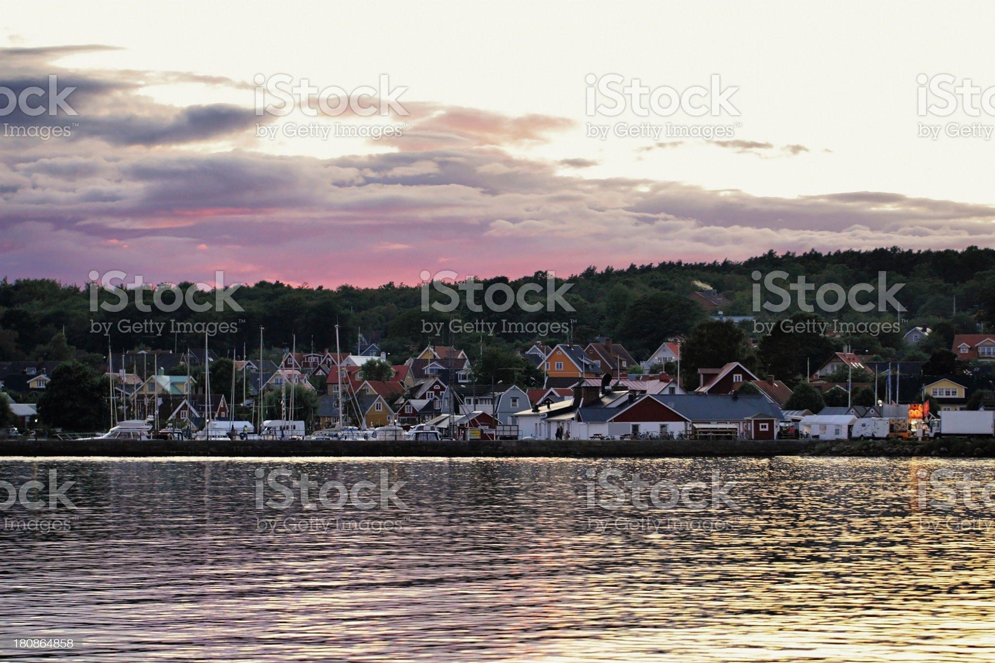 Sunset over Hallevik royalty-free stock photo