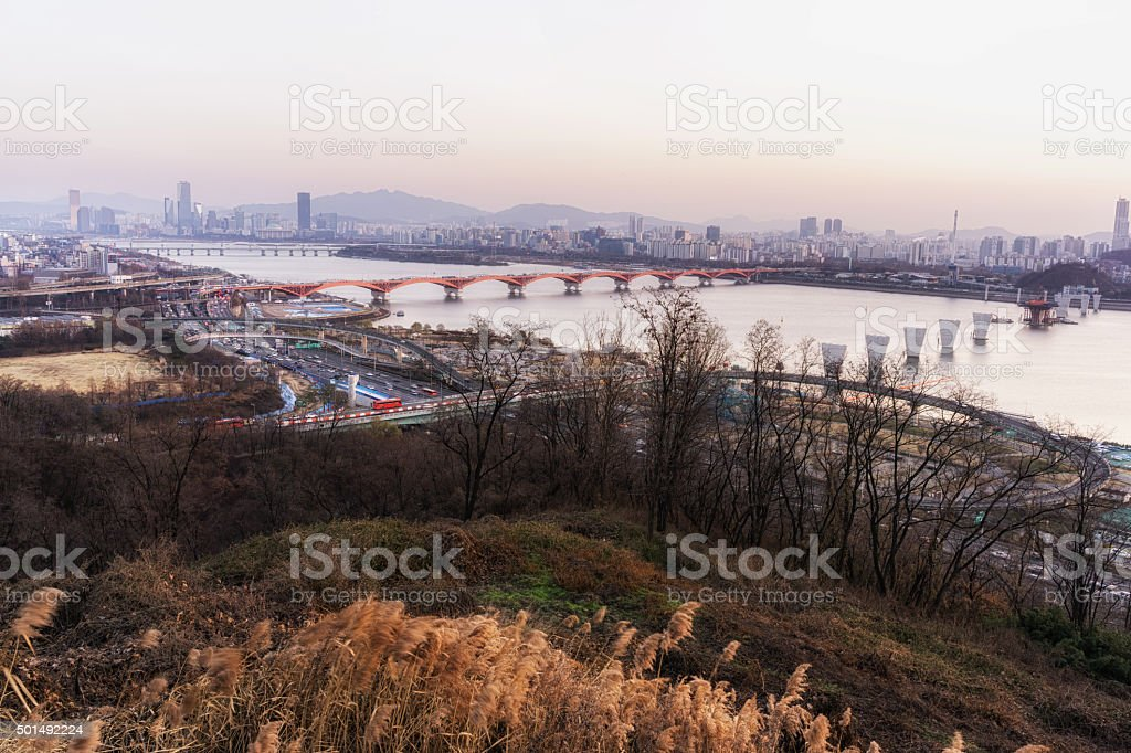 Sunset over han river stock photo