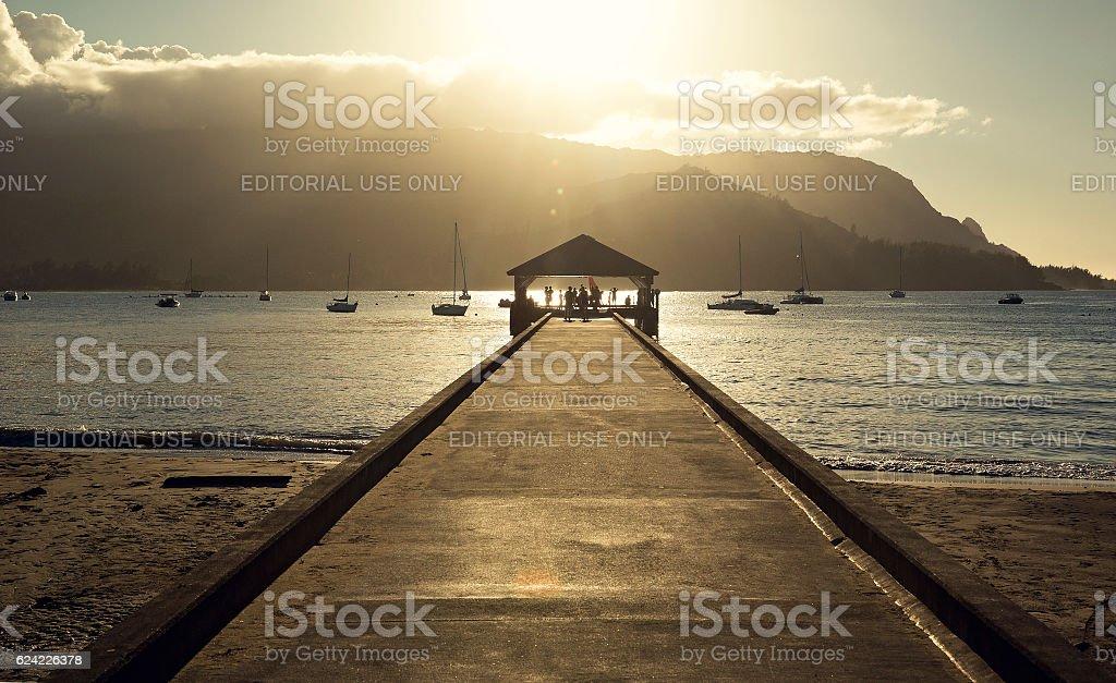 Sunset over Hanalei Bay, Kauai, Hawaii stock photo