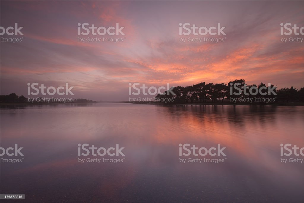 Sunset over Hatchet Pond, New Forest stock photo