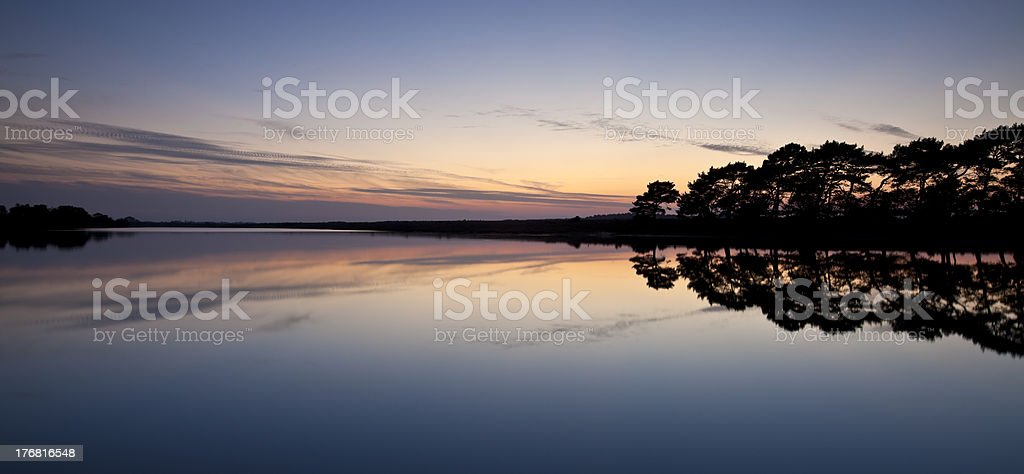 Sunset over Hatchet Pond stock photo