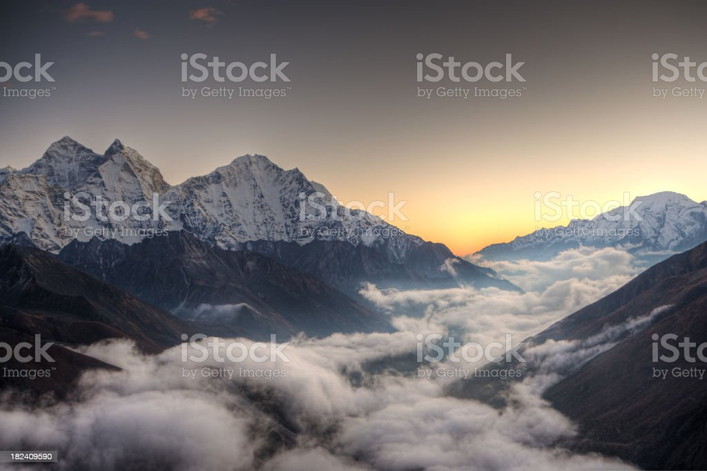 Sunset over Himalayas stock photo