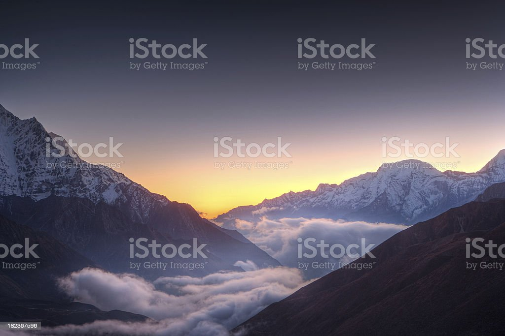 Sunset over Himayas royalty-free stock photo