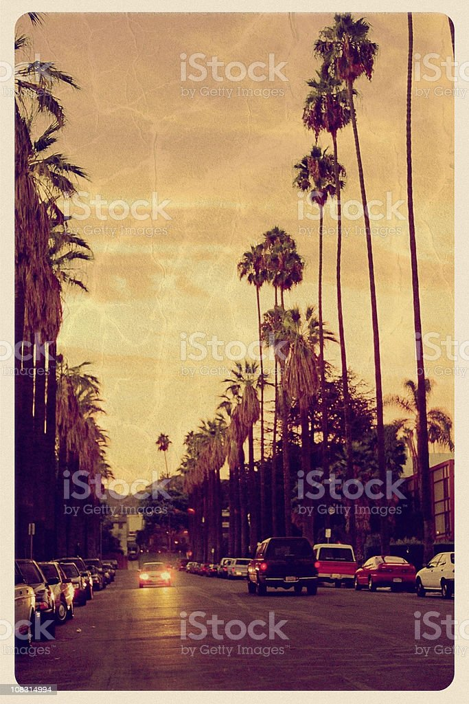 Sunset Over Hollywood Hills - Vintage Postcard stock photo