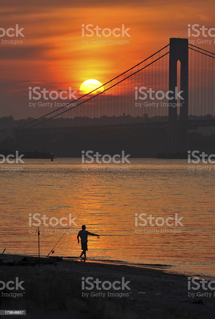 Sunset over Hudson River royalty-free stock photo