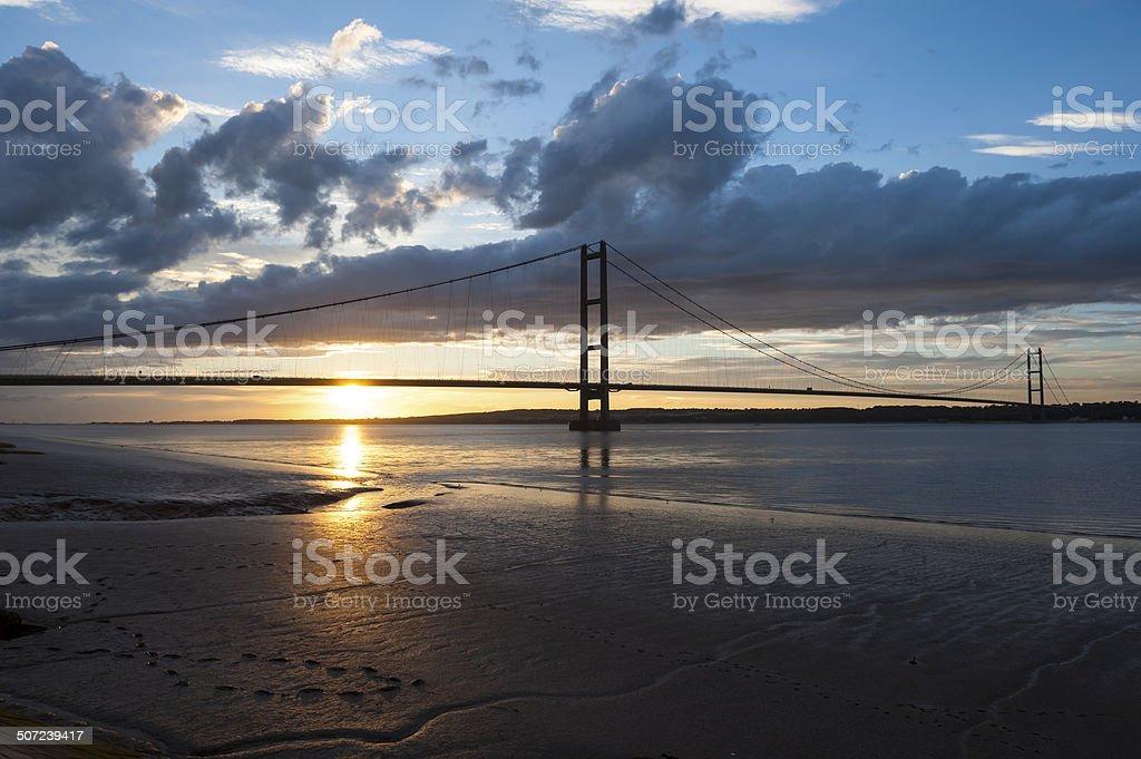 Sunset over Humber Bridge stock photo