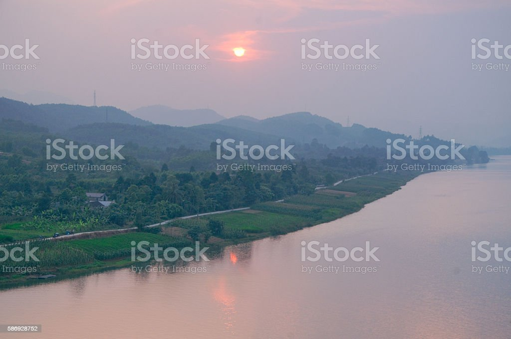Sunset over Huong river in Hue, Vietnam stock photo
