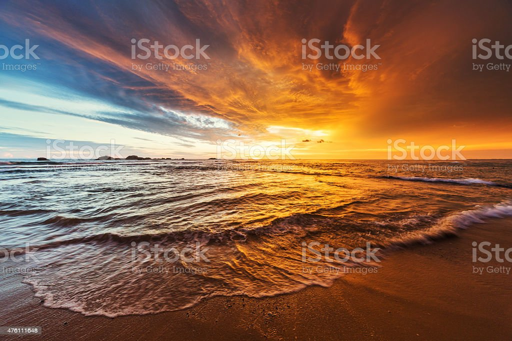 Sunset over Indian ocean. Shot taken in Hikkaduwa, Sri Lanka. Camera:...