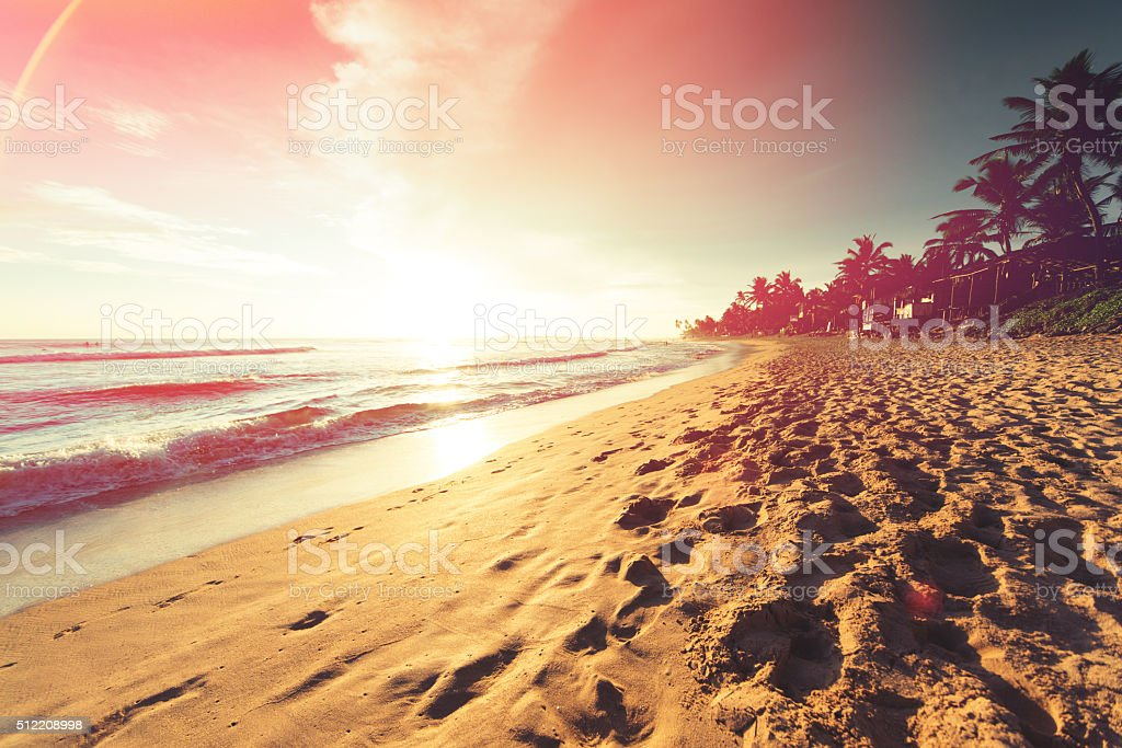 Sunset over Indian ocean stock photo