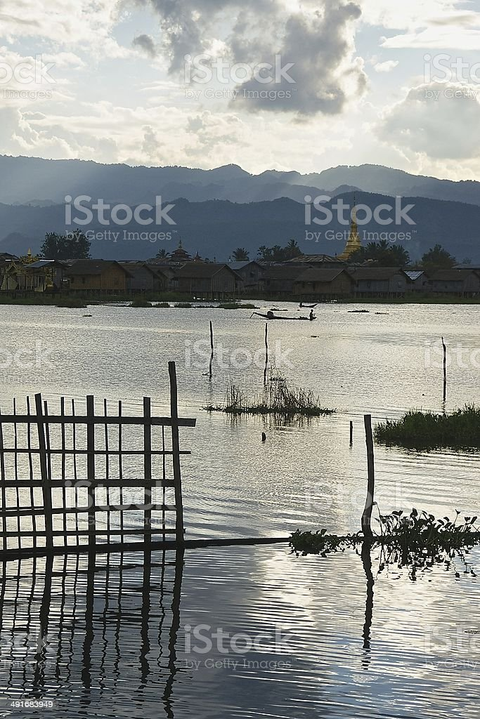 Sunset over Inle Lake, Burma royalty-free stock photo